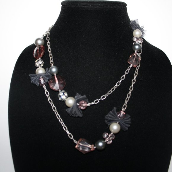 """Silver pink and black Chic necklace 40"""""""